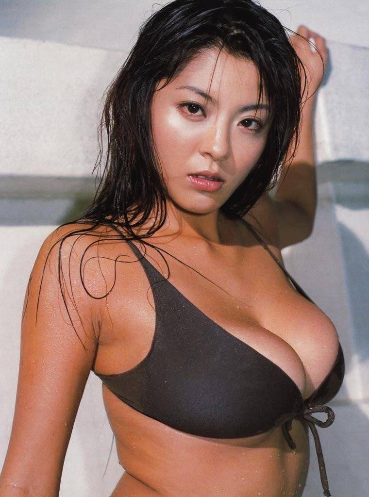 Japanese av model with huge oiled boobs