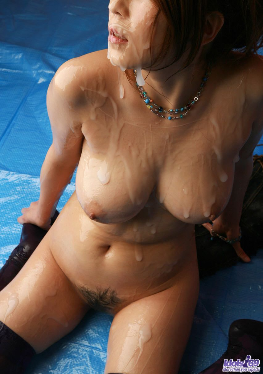 Nude japanese with cum on their body