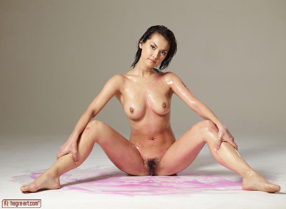 Girl elves nude in shower