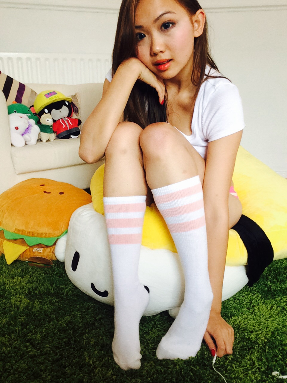 Socks in knee high flexible girls