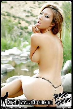 KT So posing in her bikini outdoors