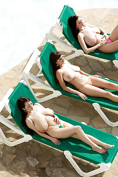 Sha Rizel, Valory Irene, Hitomi Tanaka sunbathing in nude
