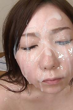 Rina nude Jav model getting bukkake face