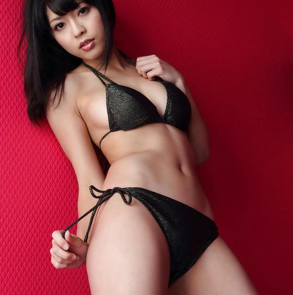 Sakura Sato in black bikini